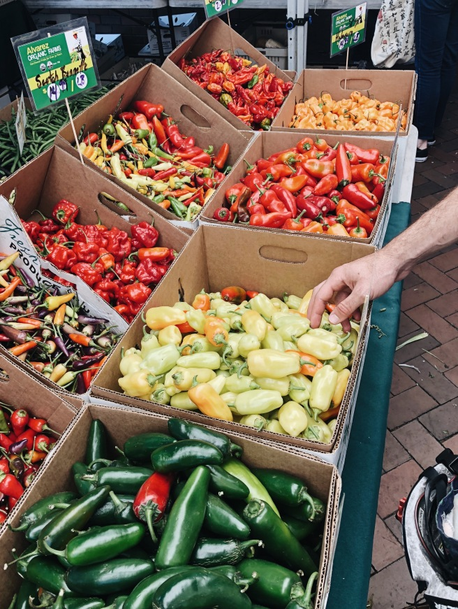 Bulk Rainbow Peppers at the Capitol Hill Farmers Market in Seattle